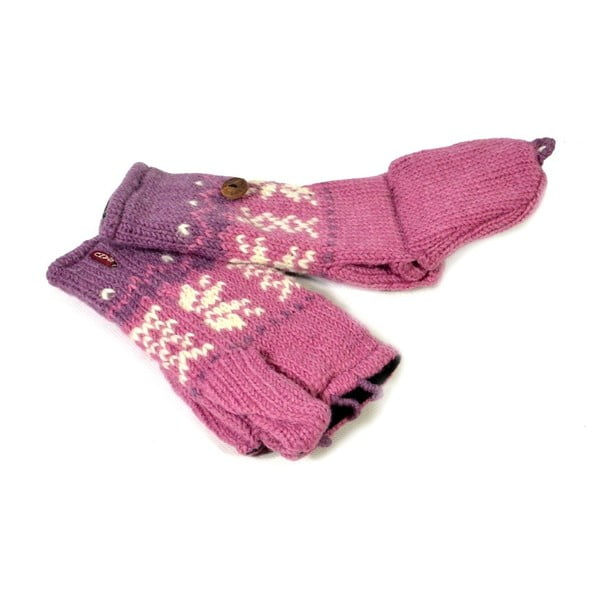 Rękawiczki z klapką Pink Snowflake
