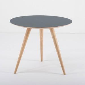 Dębowy stolik z niebieskim blatem Gazzda Arp, Ø55cm