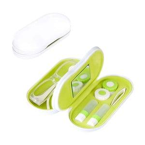 Etui na okulary i soczewki kontaktowe Duo, biało-zielone