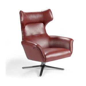 Czerwony skórzany fotel obrotowy Ángel Cerda Rosa
