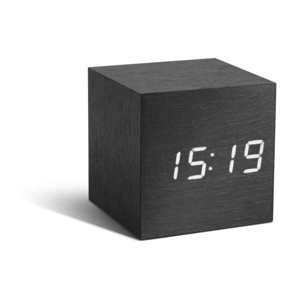 Czarny budzik z białym wyświetlaczem LED Gingko Cube Click Clock