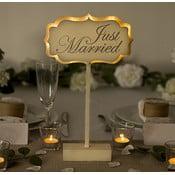 Dekoracja ślubna na stół z lampką LED Just Married