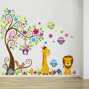 Naklejka ścienna Drzewo, żyrafa i lew, 60x90 cm