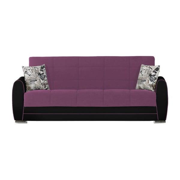 Karminowo-czarna trzyosobowa sofa rozkładana ze schowkiem Esidra Rest