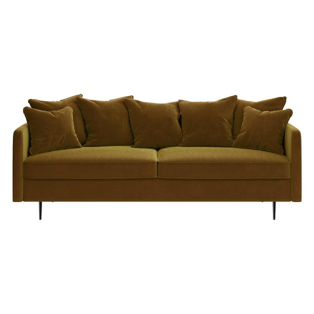 Miodowożółta sofa z aksamitnym obiciem Ghado Esme, 214 cm