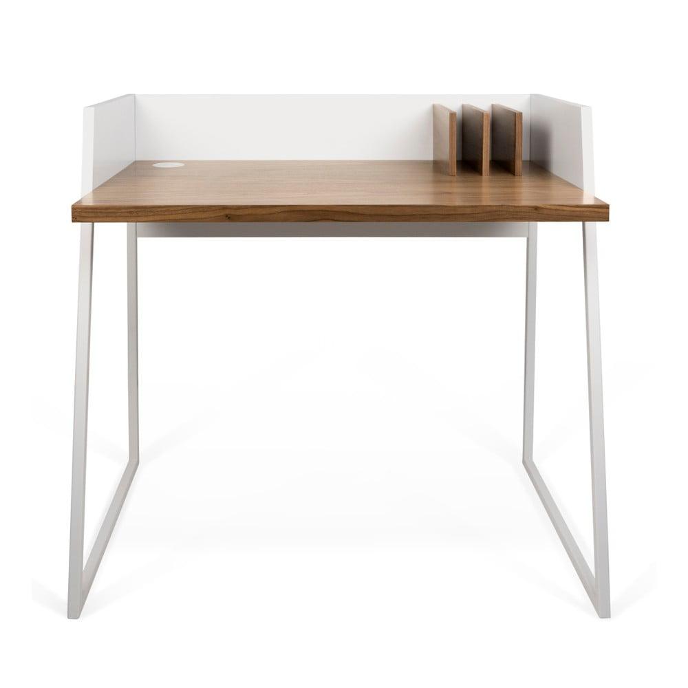 Białe biurko z detalami w dekorze drewna orzecha TemaHome Volga Walnut