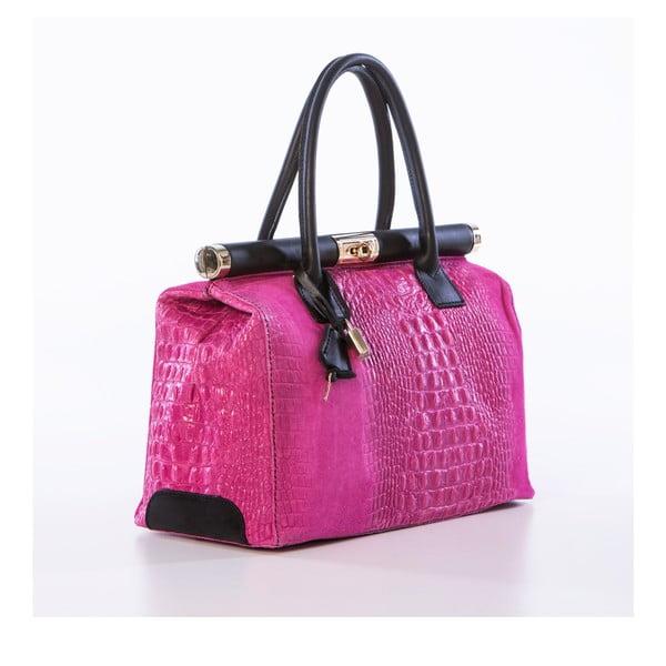 Różowa torebka skórzana Federica Bassi Meissa