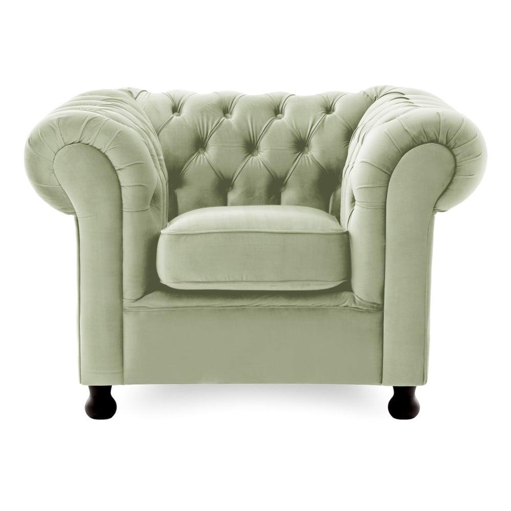 Jasnozielony fotel Vivonita Chesterfield