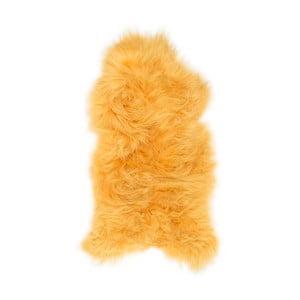 Żółta skóra owcza z długim włosiem Dark tops, 100x60 cm