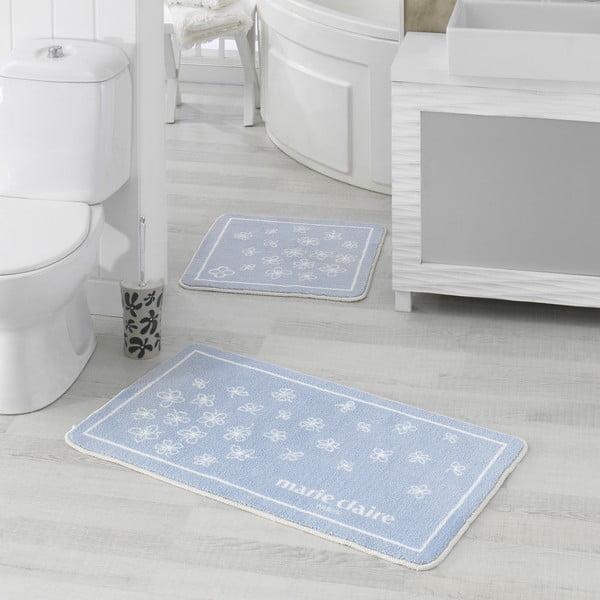 Zestaw 2 niebieskich dywaników łazienkowych Breeze