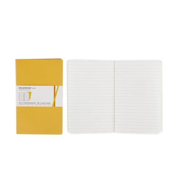 Zestaw 2 żółtych notesów w linie Moleskine Volant