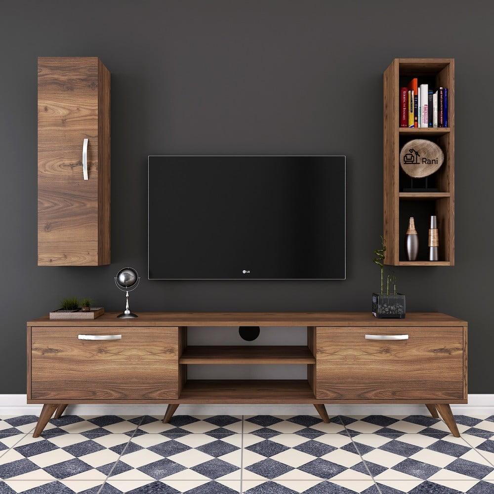 Zestaw komody pod TV, półki i szafki w dekorze drewna orzechowego Wren