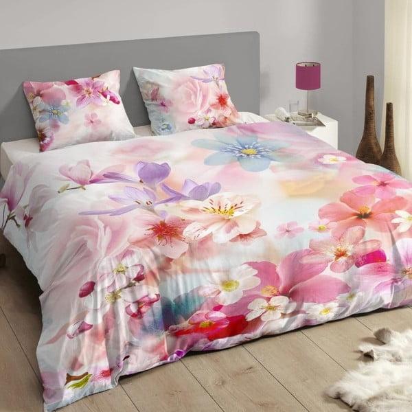 Różowa pościel bawełniana Muller Textiel Descanso, 200x200 cm