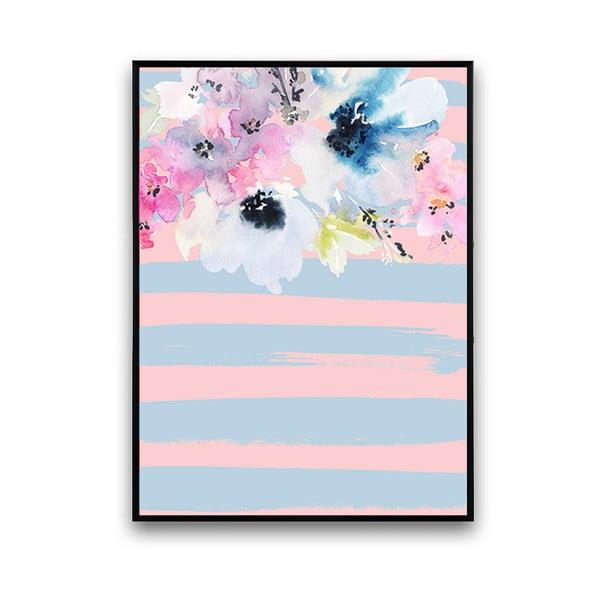 Plakat z kwiatami, niebiesko-różowe tło, 30 x 40 cm