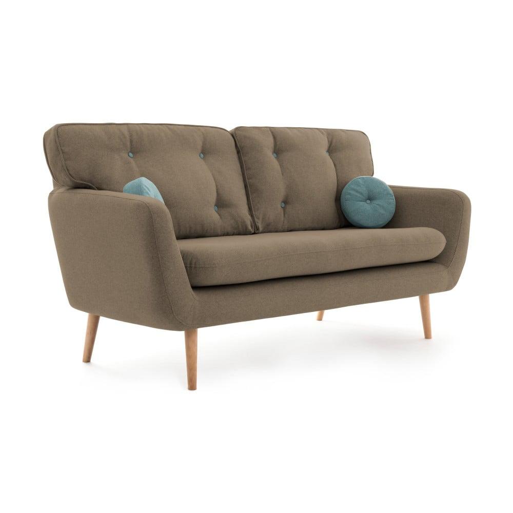 Beżowa sofa 3-osobowa z niebieską poduszką VIVONITA Malva
