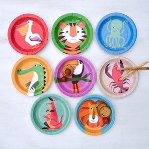 Zestaw 8 papierowych talerzy Rex London Colourful Creatures