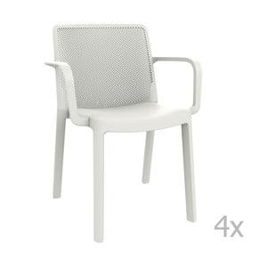 Zestaw 4 białych krzeseł ogrodowych z podłokietnikami Resol Fresh