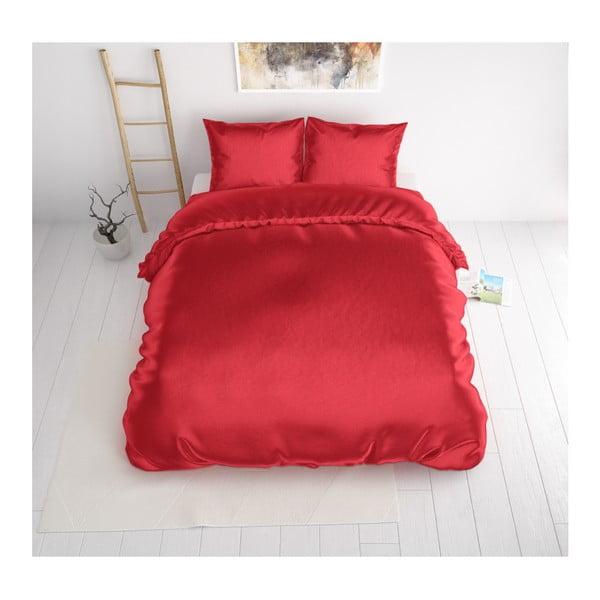 Czerwona dwuosobowa pościel z satynowego mikroperkalu Sleeptime, 240x220 cm