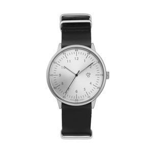 Zegarek z czarnym paskiem i cyferblatem w srebrnej barwie CHPO Harold