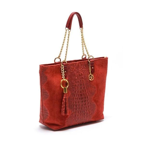 Skórzana torebka Carla Ferreri 863 Rosso