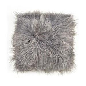Szara dwustronna poduszka futrzana z długim włosiem, 45x45 cm