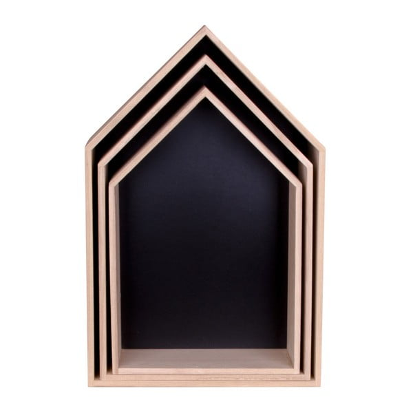 Zestaw 3 brązowych półek drewnianych House Nordic Verona