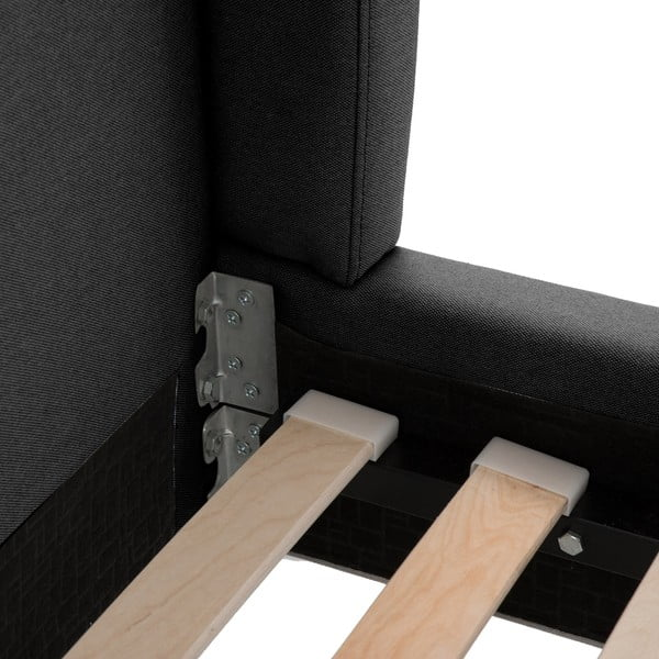 Czarne łóżko z czarnymi nóżkami Vivonita Windsor, 160x200 cm