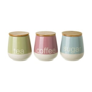 Zestaw 3 pojemników ceramicznych na herbatę, kawę i cukier Uniimasa