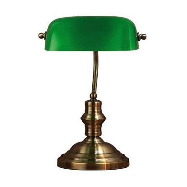 Lampa stołowa z zielonym kloszem i podstawą w kolorze mosiądzu Markslöjd Bankers, 42 cm