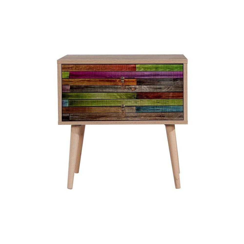 Drewniana szafka nocna Iris Rainbow