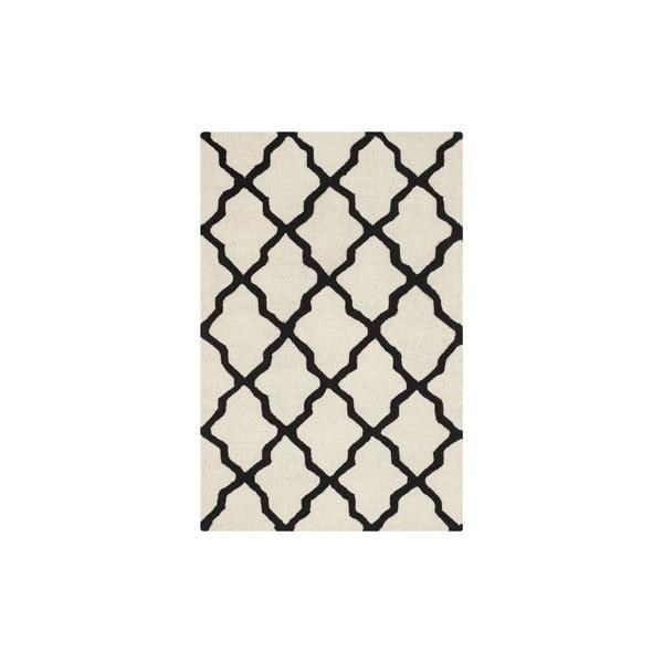 Wełniany dywan Ava 121x182 cm, biały/czarny