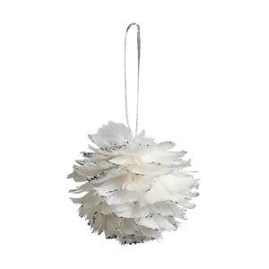 Zestaw 6 białych dekoracji wiszących z piór Côté Table Hanging Ball Feather, 12 cm
