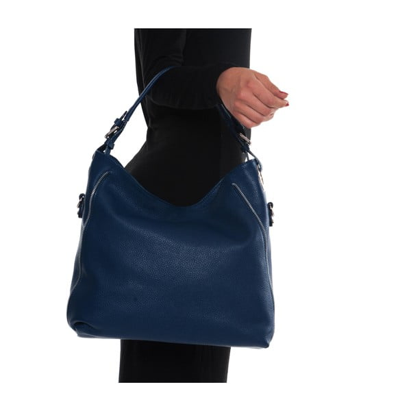 Niebieska skórzana torebka Mangotti Aurora