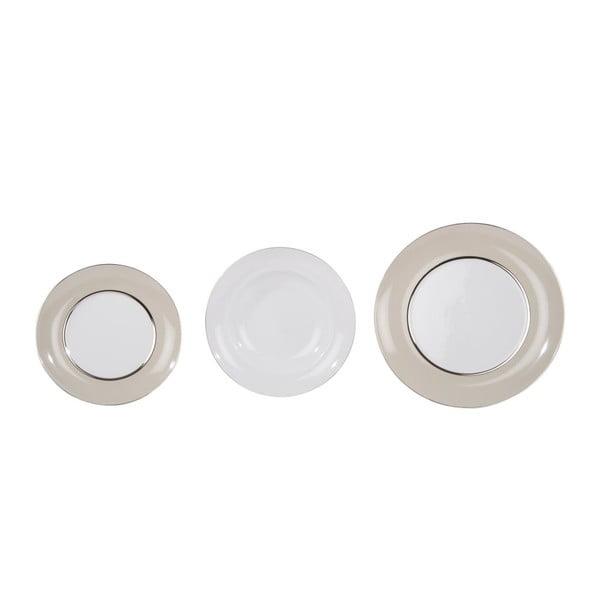 Komplet 18 talerzy ceramicznych Roma Beige