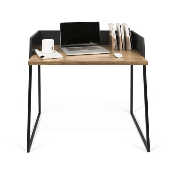Czarne biurko ze szczegółami z dekorem orzecha TemaHome Volga Walnut
