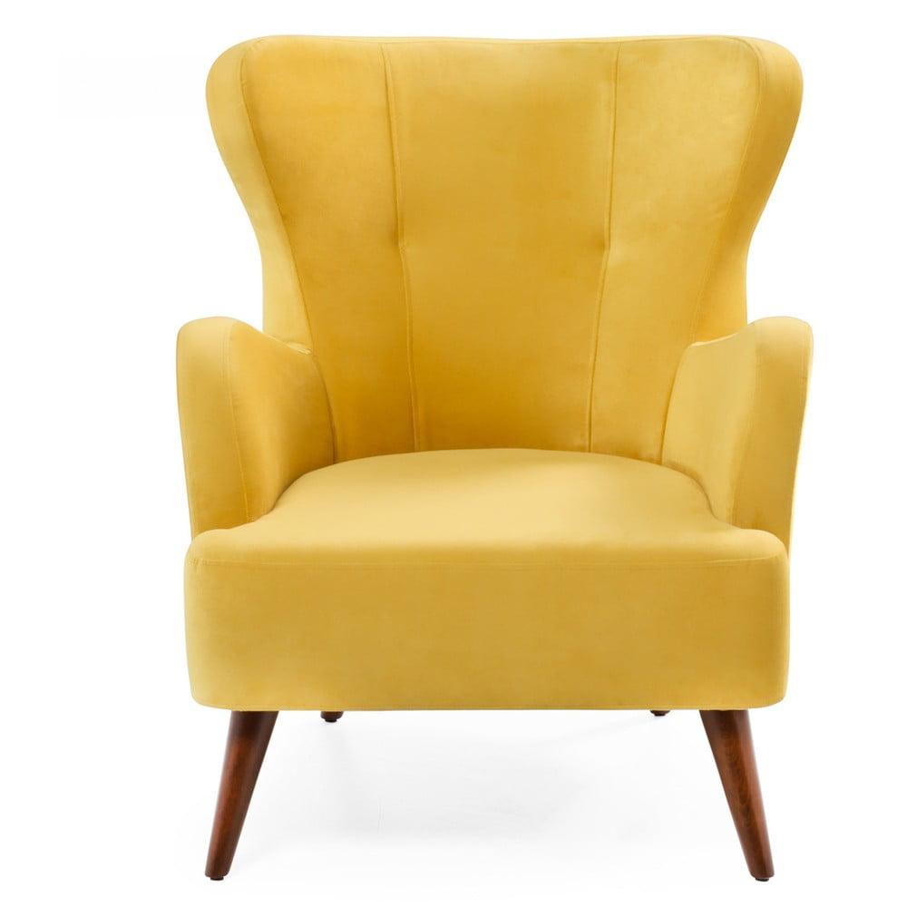 Żółty fotel uszak Balcab Home Jane