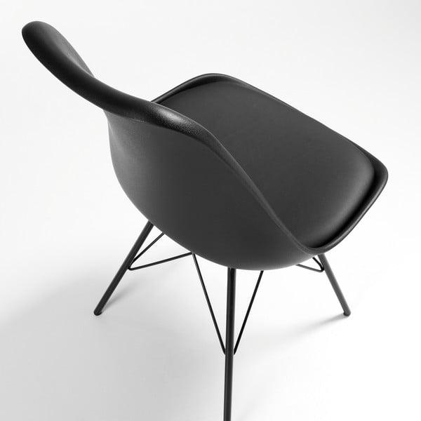 Czarne krzesło Lars z metalowymi nogami