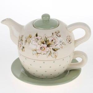 Porcelanowy dzbanek z filiżanką Green Flowers