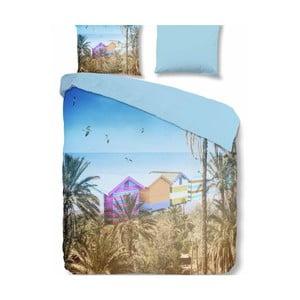 Niebieska pościel dwuosobowa z mikroperkalu Muller Textiels Summer, 200x200 cm