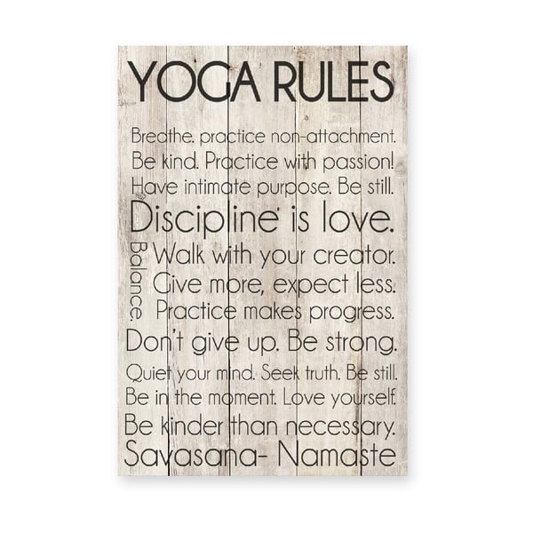 Drewniana tablica Yoga Rules