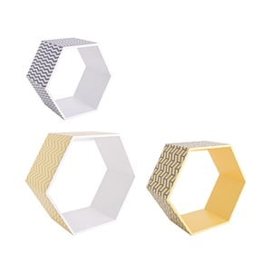 Zestaw 3 półek ściennych Hexagon