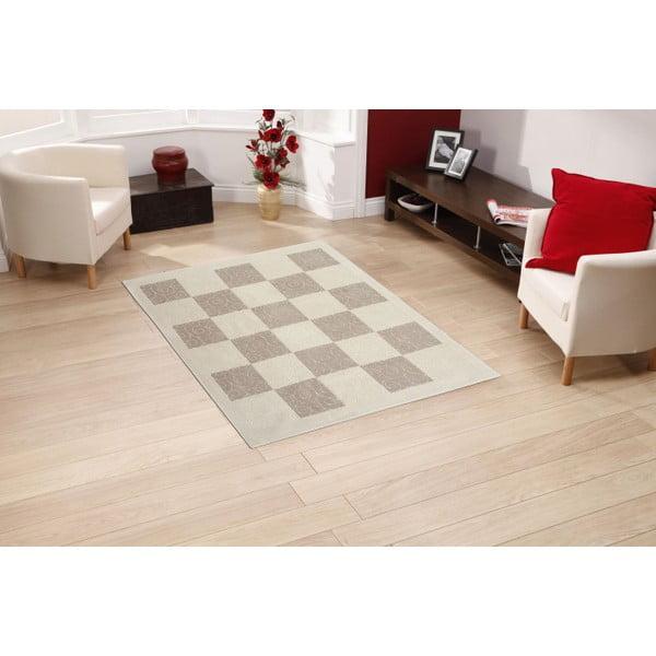 Kremowy dywan bawełniany Floorist Check, 100x200cm