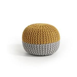 Żółto-szary puf La Forma Arieh,Ø 50cm
