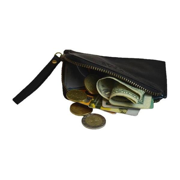 Czarny portfel skórzany na drobné Coin Purse