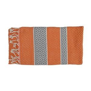 Pomarańczowy ręcznie tkany ręcznik z bawełny premium Basak,100x180 cm