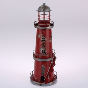 Metalowy lampion wiszący Red Lighthouse, 32 cm