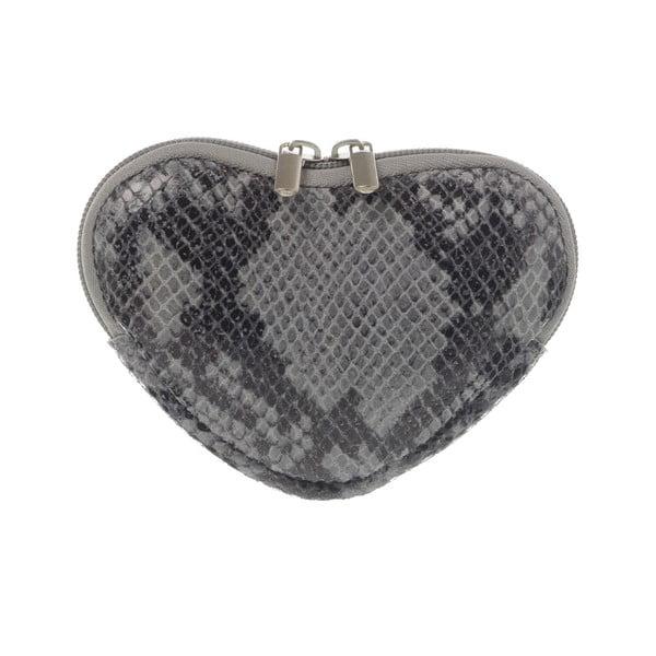 Skórzana portmonetka Heart Grey