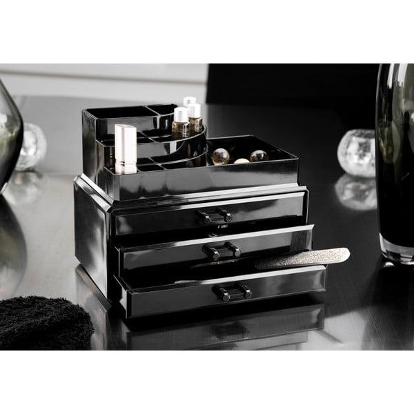 Czarny organizer na kosmetyki z szufladkami Compactor Black Box