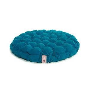 Turkusowa poduszka do siedzenia wypełniona piłeczkami do masażu Lindy Vrňáková Bloom, Ø 65 cm
