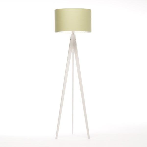 Zielona lampa stojąca Artist, biała lakierowana brzoza, 150 cm